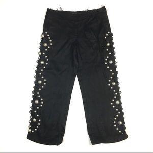 Gaetano Navarra linen pants embellished ankle crop